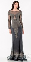 Terani Couture Chiffon Beaded Overlay Evening Dress