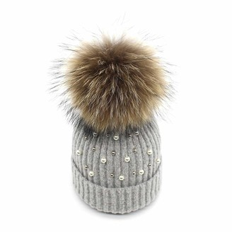 XWGlory Girl Wool Beanies Caps Hats Fur Pom Pom Hat Winter Warm Soft Solid Crochet Knitted Hat with Pearl Pompom Hat Light Grey