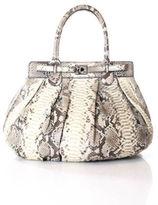 Zagliani Brown Ivory Snake-Skin Twisted Lock Satchel Handbag