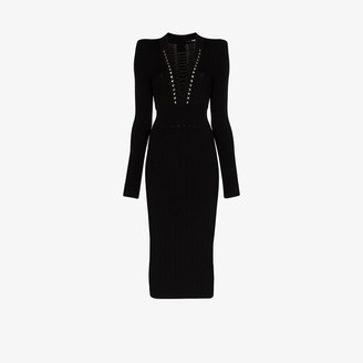 Balmain laced V-neck fitted dress
