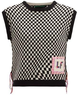 La Fetiche - Riley Logo-patch Wool Sleeveless Sweater - Black White
