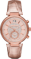 MICHAEL Michael Kors Sawyer Pave Crystal Sport Watch w/ Leather Strap, Rose Golden
