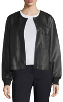 DKNY Leather Snap-Front Bomber Jacket, Black
