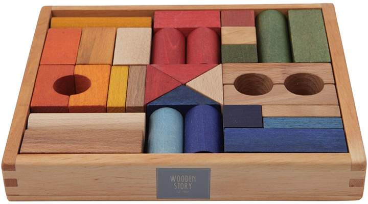 story. Wooden Rainbow Wooden Blocks, 30 Pieces