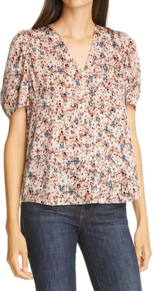 Nordstrom Signature Print Puff Sleeve Stretch Silk Blouse