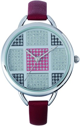 Sunset2420Ladies WatchSilver Dial Red Leather Strap