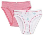 Petit Bateau Set of 2 girls milleraies-striped/sequin-printed panties