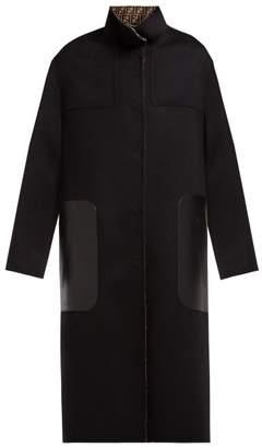 Fendi Reversible Single Breasted Wool Blend Coat - Womens - Black Multi