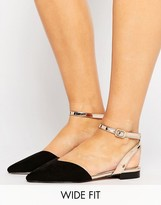 Asos LISBON Wide Fit Pointed Ballet Flats
