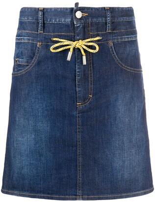 DSQUARED2 Drawstring Waist Denim Skirt