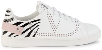 Valentino Rockstud Zebra-Print Sneakers