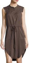 Bobeau Drawstring-Waist Sleeveless Shirtdress, Brown