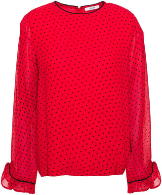 Ganni Ruffle-trimmed Printed Georgette Blouse