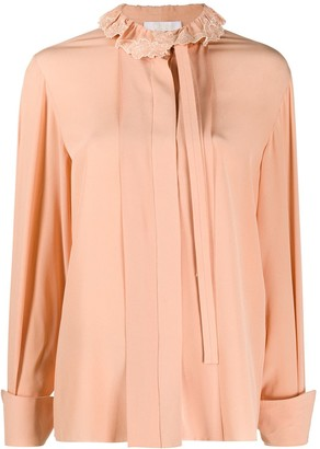 Chloé High-Neck Tie-Front Blouse
