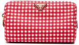 Prada red gingham cotton makeup pouch