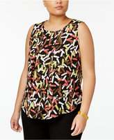 Nine West Plus Size Printed Keyhole Crepe Shell