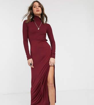 Asos Tall DESIGN Tall long sleeve high neck rib midi dress with slinky hem-Purple