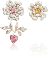 Rodarte Silver Flower and Strawberry Earrings with Swarovski Crystal Details