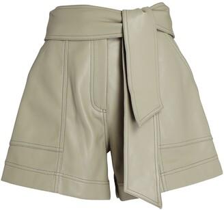 Jonathan Simkhai Mari Vegan Leather Tie-Waist Shorts
