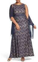 Alex Evenings Plus Size Women's Sequin Lace A-Line Gown With Wrap