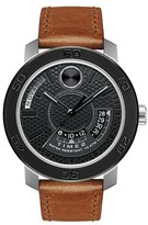 Movado Leather Strap Watch, 46mm