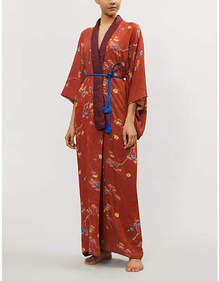 Kisshoten Kiss Broken Branch printed silk kimono