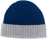 N.Peal chunky rib contrast knit hat