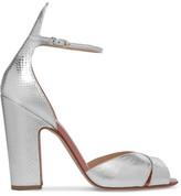 Francesco Russo Snake-effect Leather Sandals - Silver