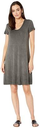 Karen Kane Vintage Wash Olivia T-Shirt Dress (Charcoal) Women's Dress
