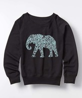 Black Elephant Slouchy Sweatshirt - Kids & Tween