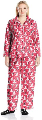 Karen Neuburger Plus Size Long Sleeve Minky Fleece Girlfriend PJ Set with Sock