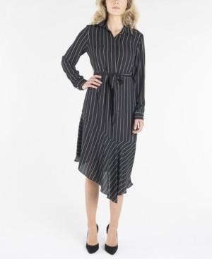 Nanette Lepore nanette Long Sleeve Dress with Collar and Asymmetrical Hemline