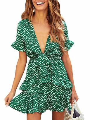 Ybenlover Women's Floral V-Neck Summer Dress High Waist Ruffle Beach Dress Mini Dresses - Green - L