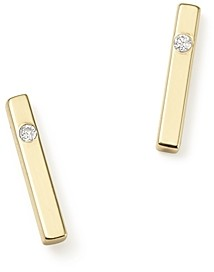 Zoë Chicco 14K Yellow Gold Bar Earrings with Diamonds