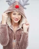 Loungeable Brown Christmas Reindeer 3d Onesie