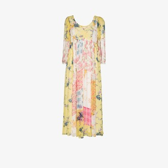 LoveShackFancy Roslyn patchwork floral silk dress