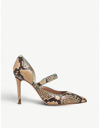LK Bennett Florence picot-trim snake-print leather courts