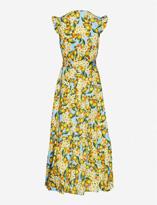 Borgo de Nor Citrus-print cap-sleeved cotton maxi dress