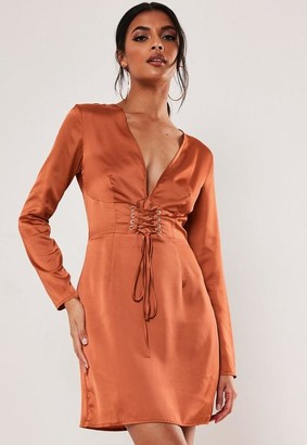 Missguided Rust Satin Corset Front Mini Dress