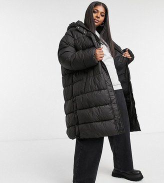 Only Curve longline puffer jacket in black