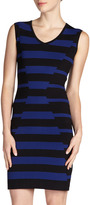 Carmen Marc Valvo Carmen by Mixed-Stripe V-Neck Sheath Dress, Black/Blue