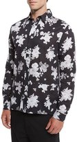 McQ by Alexander McQueen Floral-Print Sport Shirt, Greyscale