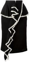 Givenchy pearl trim ruffle front skirt - women - Silk/Acrylic/Polyamide/Viscose - 38