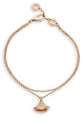 Bvlgari Divas' Dream 18K Rose Gold & Diamond Pendant Double-Strand Bracelet