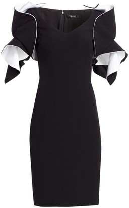 Badgley Mischka Origami-Sleeve Crepe Two-Tone Dress