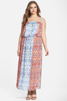 Vince Camuto Two by Moroccan Paisley Drawstring Waist Maxi Dress (Plus Size)