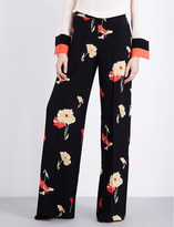 Etro Floral-print wide-leg silk-georgette trousers