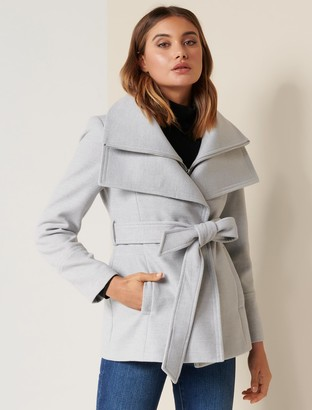 Forever New April Petite Cropped Coat - Grey Marle - 10