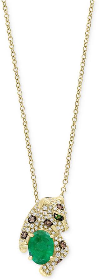 Effy Signature by Multi-Gemstone (1-1/6 ct. t.w.) & Diamond (1/3 ct. t.w.) Leopard Pendant Necklace in 14k Gold