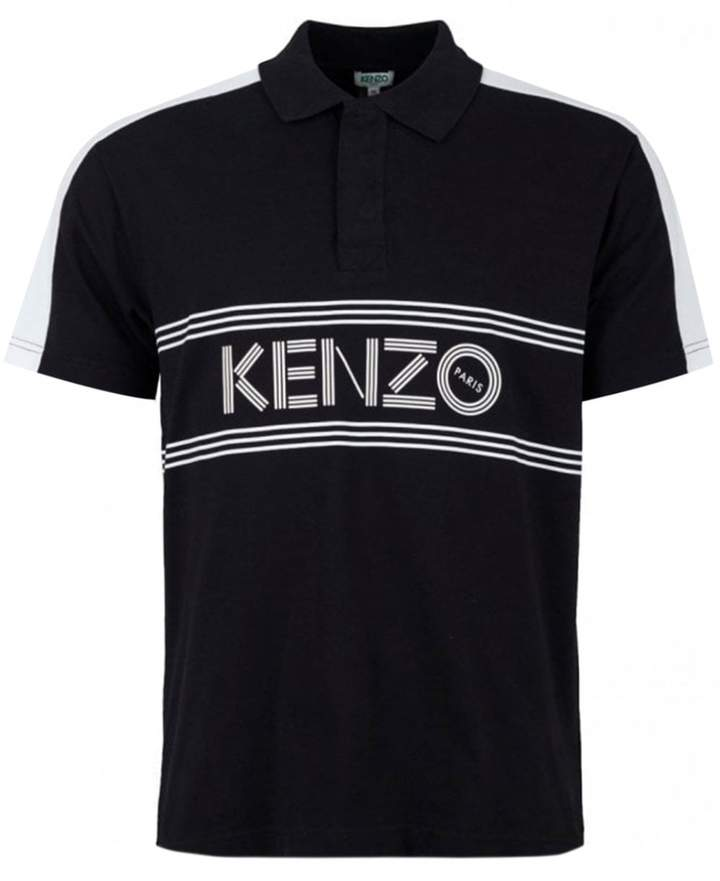 54c141a3505 Logo Striped Short Sleeved Polo Colour: BLACK, Size: MEDIUM